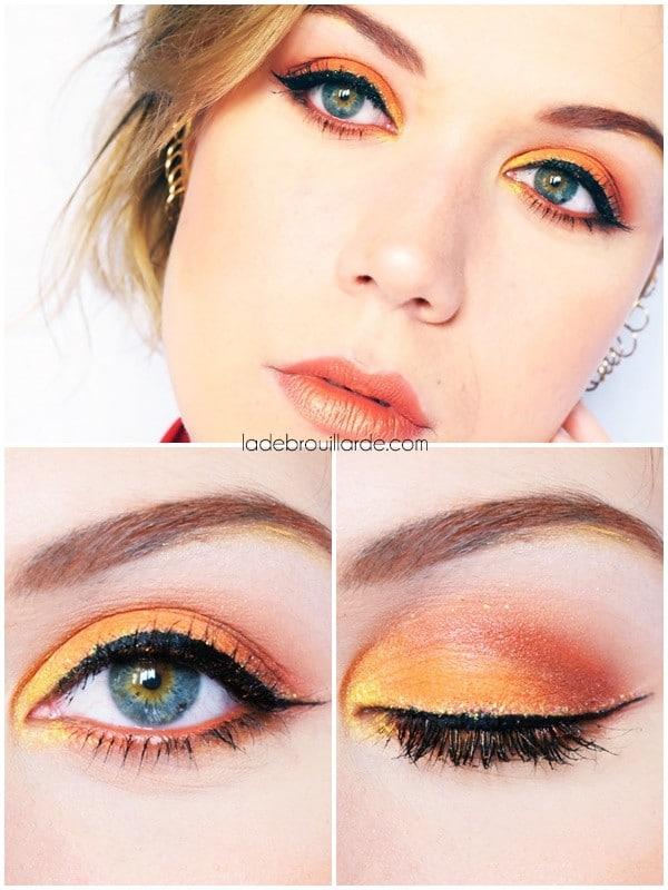 Maquillage orange neon coloré