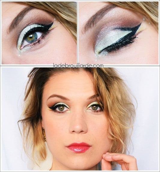Maquillage Mint eye liner cut crease soirée