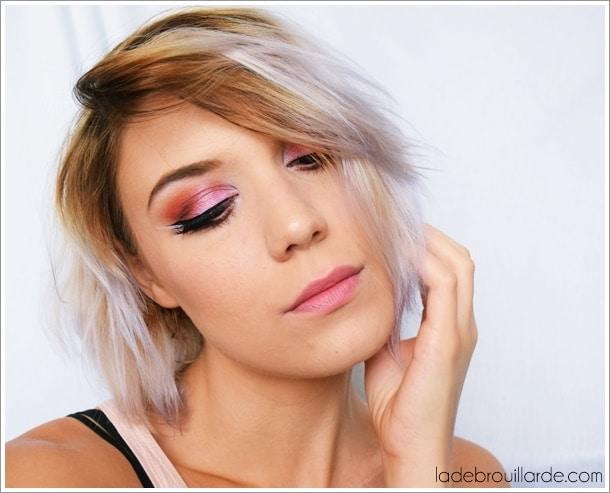 make up pink smoky eye liner