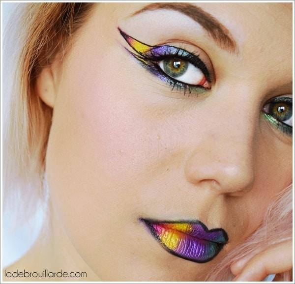 maquillage artistique arc en ciel
