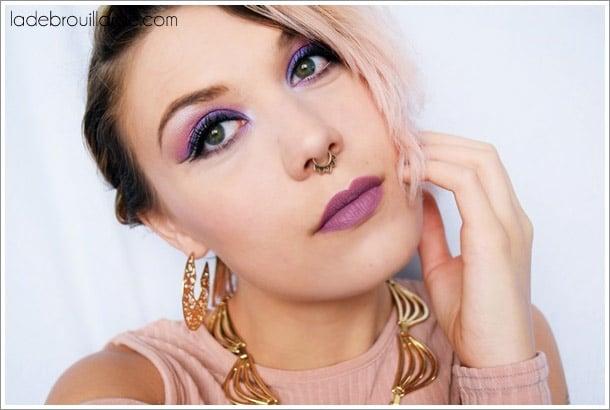 maquillage de soirée violet rose