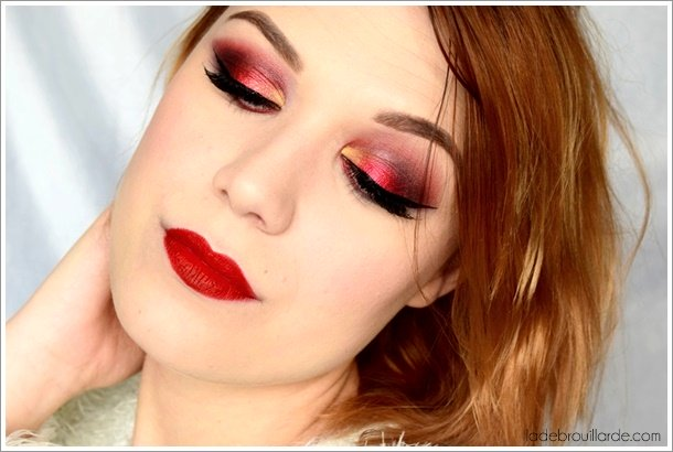 maquillage rouge fard à paupière smoky eye