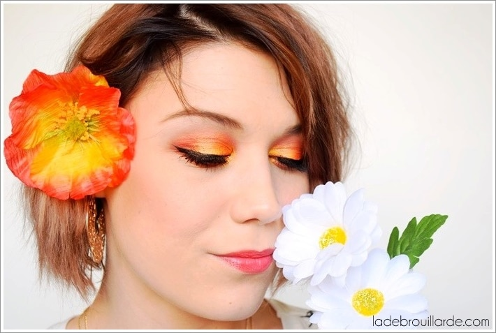 Maquillage ultra coloré jaune/orange