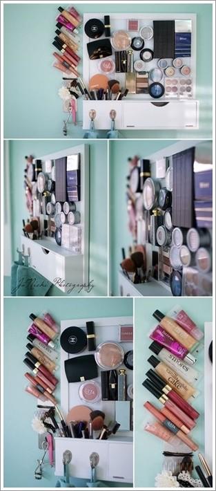 rangement maquillage aimanté DIY