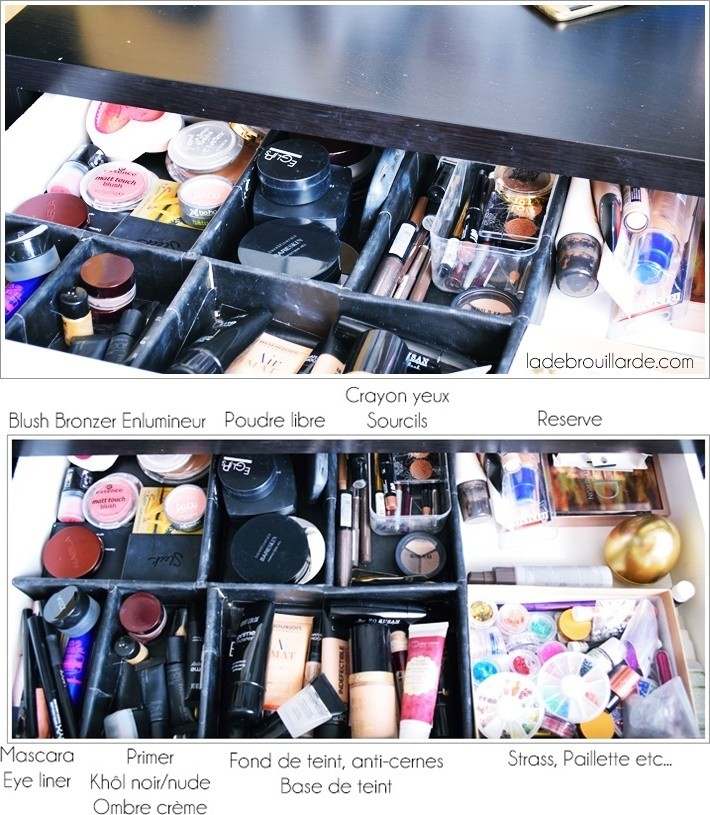 rangement tiroir maquillage