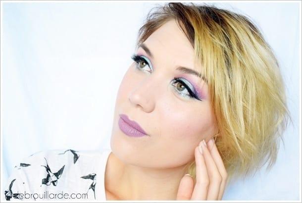 maquillage bleu ciel yeux vert