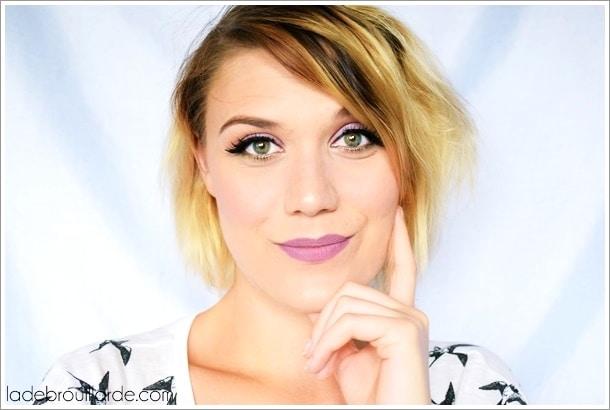 tutoriel maquillage mauve vert