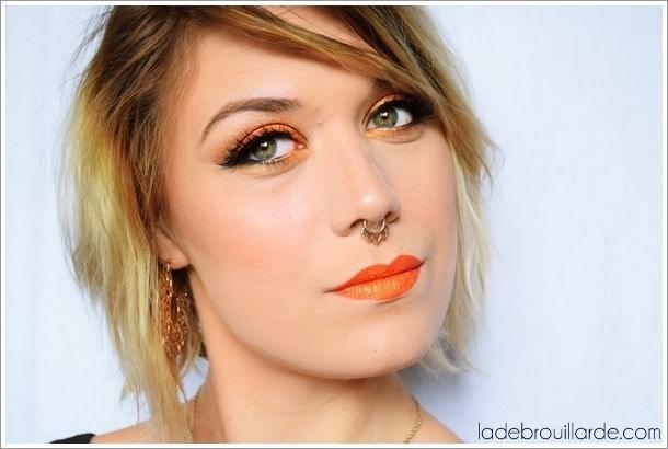 Maquillage smoky eye orange clémentine