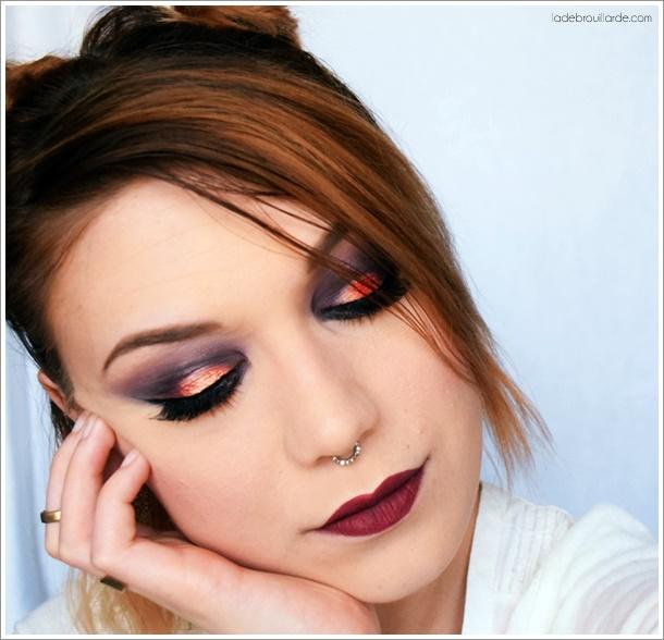 maquillage prune & saumon