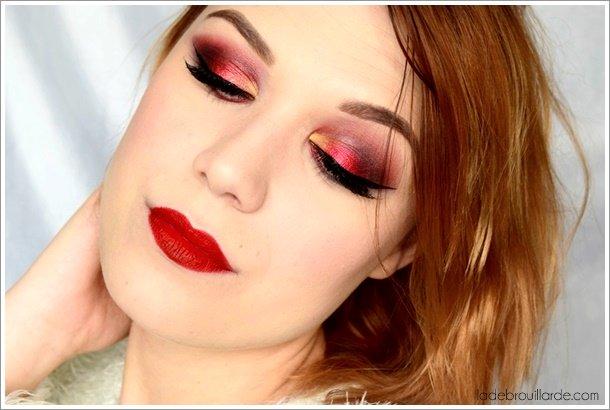 maquillage rouge fard à paupière smoky eye