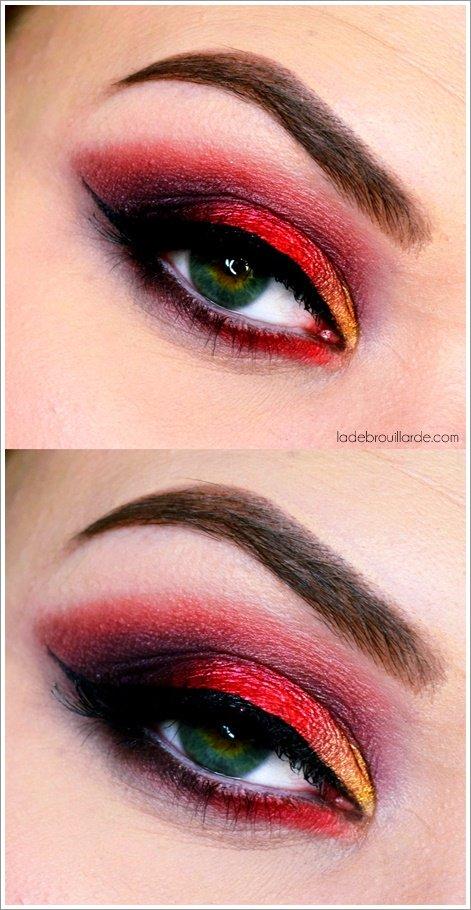 maquillage rouge smoky eye