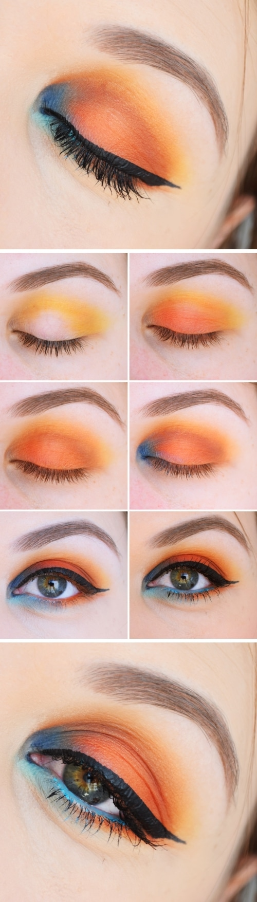tutoriel maquillage orange bleu