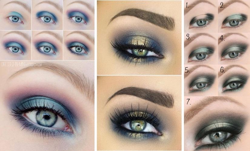 maquillage bleu yeux bleu