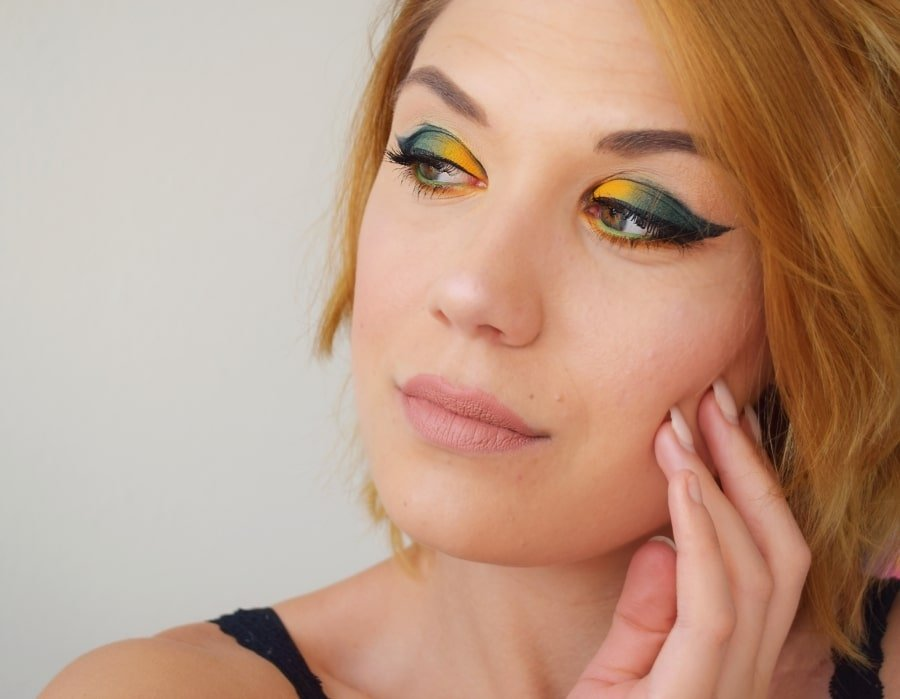 tuto makeup teal moutarde