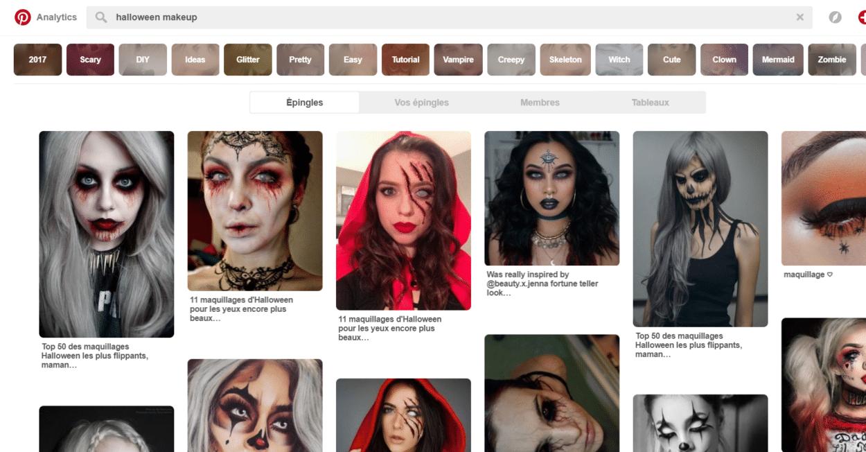 maquillage halloween inspiration pinterest