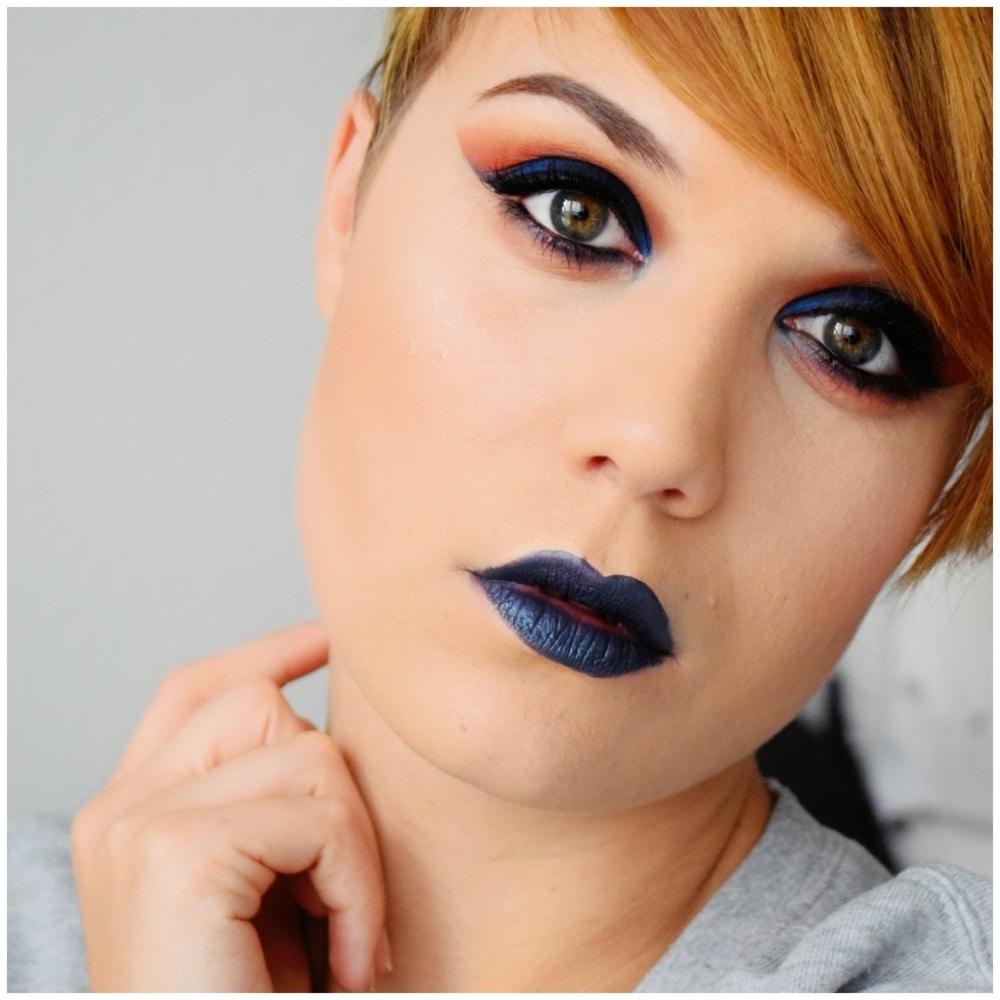 tutoriel maquillage bleu orange