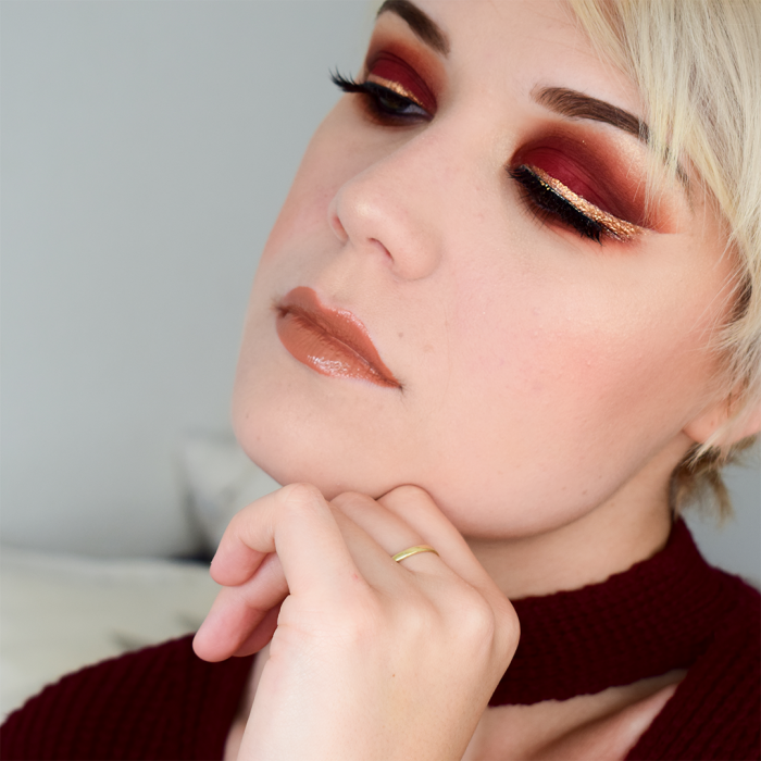 blog tutoriel maquillage yeux rouge eye liner doré