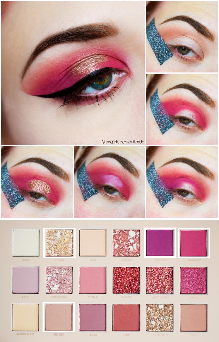 tutoriel new nude huda beauty gold pink makeup halo eye